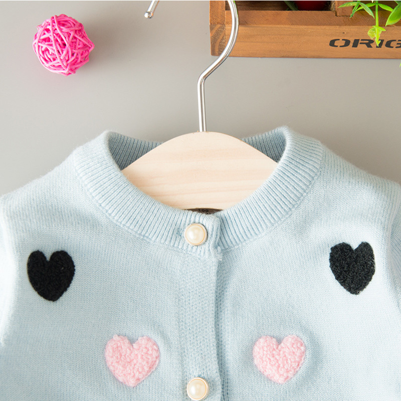 Sweater Cardigan For Girls Heart Cotton Solid Sweater Coat For Girl - Children's Clothing - Photo 5