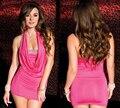 Vestido de verão 2016 Fora do Ombro Bodycon Reta Mulheres Strapless Clubwear Mini Vestidos de Festa Fantasias Femininas Rosa S6123