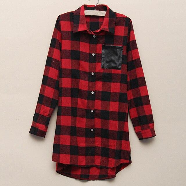 2017 Korea Style Womens Classic Black Red Check Plaid Pockets Blouse Long Sleeve Turn Down Collar Shirt Size S-5XL