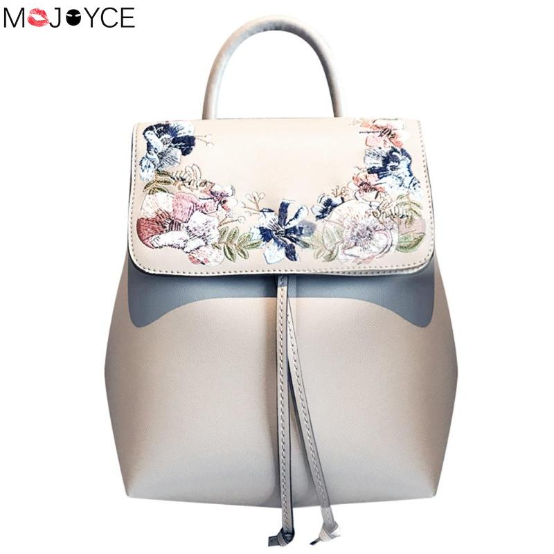 Fashion Mini Embroidery Flower Women Backpacks Pu Leather Casual Drawstring Shoulder Bucket Schoolbags Mochilas Female