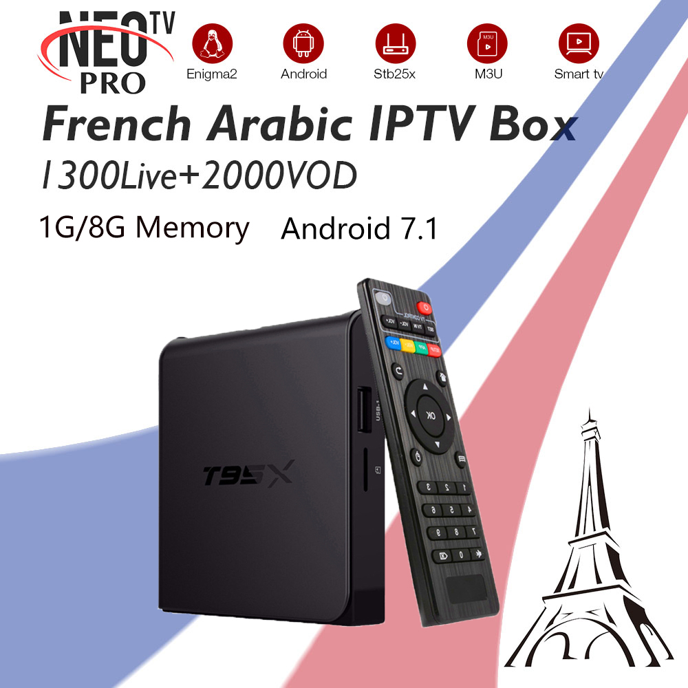 T95X Android Smart TV Box With NEOtv French Arabic Belgium IPTV Subscription Live VOD Amlogic S905X 1G/8G 4K HD телеприставка mobase mxiii amlogic s802 android iptv 2 0 4 4 2 octa gpu 4k 1g 8g xbmc