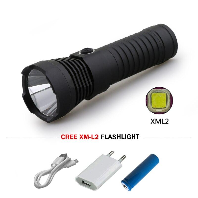 powerful led flashlight usb torch 18650 or 26650 battery cree xm l2 lanterna camping waterproof search lamp linterna zaklamp