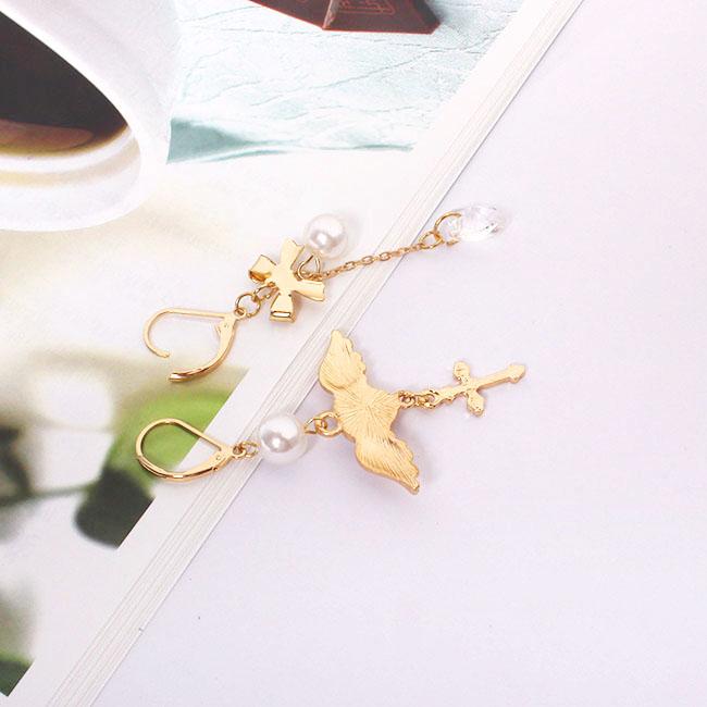 Factory Wholesale Japanese Angel Wings Heart Cross Crystal Earrings
