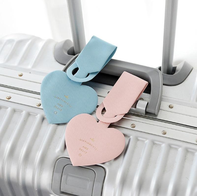 1 Pc Mode Liebe Herz Reise Zubehör Einfache Design Leder Id Adresse Halter Gepäck Internat Tragbare Label Gepäck Tag