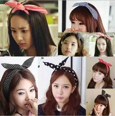 New chiffon floral colorful cute bunny ear rabbit ear metal wire DIY bow headband sequin hairbands large bow clips