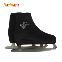 24 Colors Child Adult Velvet Ice Skating Figure Skating Shoes Cover Roller Skate Fabric Cover Accessories Black White Rhinestone