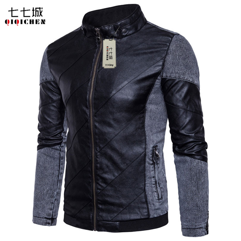 Casaca de Cuero Hombre Patchwork Leather Jacket Men Motorcycle Stand Collar Slim Fit Casual Male Leather Coat Veste Cuir Homme