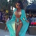 Новый 2017 Сплошной цвет Летние Женщины Сексуальный Купальник Cover Up С Длинным рукавом Купальники Бикини Крышку Ибп платье Лонг-Бич