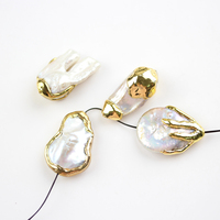 10PCS Fashion Shell Charms Beading Necklace Jewelry,Freedom Form White Pearl Shell Pave Gold Copper Plated Nugget Slab Slice