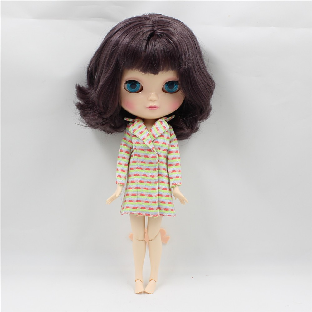 Neo Blythe Doll with Brown Hair, White Skin, Shiny Face & Jointed Azone Body 1