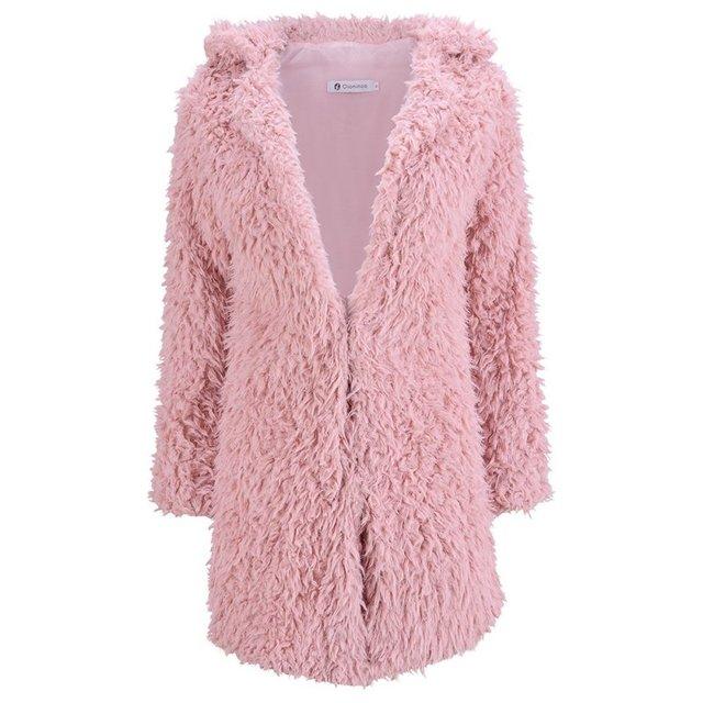Mulheres Moda Jaqueta Casaco de Inverno V Pescoço Manga Longa Quente da Pele Do Falso Outwear do Sobretudo Senhoras