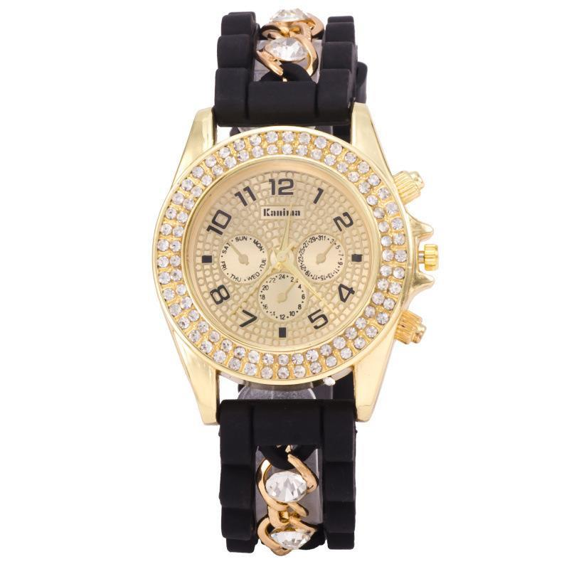 2016 New Fashion Gold Alloy Chain Crystal Geneva Casual Quartz Watch Women Silicone Watches Relogio Feminino Dress Wristwatches купить crocs в америке с доставкой в россию