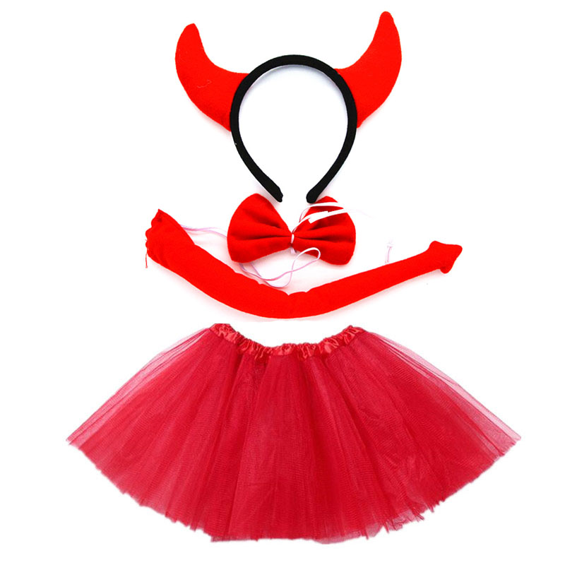 Girl Devil Demon Cosplay Headband Tutu Skirt Tie Tail Set Party Props Halloween Costume For Kids Baby Shower Toy Birthday Gift