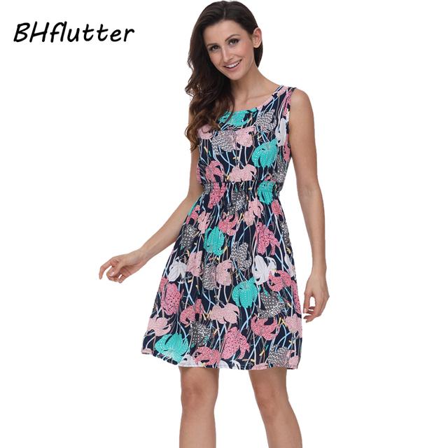 BHflutter Women Dress 2018 New Fashion Floral Print Casual Summer Dress 100% Cotton Short Shift Dress Boho Style Bohemian Dress