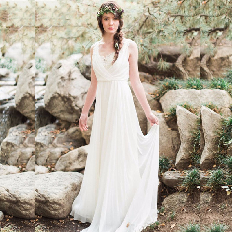 Aliexpress Com Buy Vestido De Noiva 2017 A Line Beach: 2017 Chiffon A Line Lace Wedding Dresses Backless Sweep