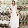 2017 Chiffon A line Lace Wedding Dresses Backless Sweep Train Bride Gown Country Wedding Dress  Spring Beach Vestido De Noiva