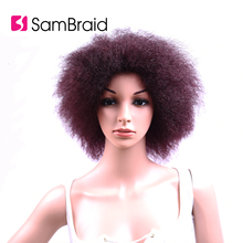 Sambraid 6 inch 100g/piece short synthetic Afro Kinky Straight Wig For African Women High  Temperature Fiber
