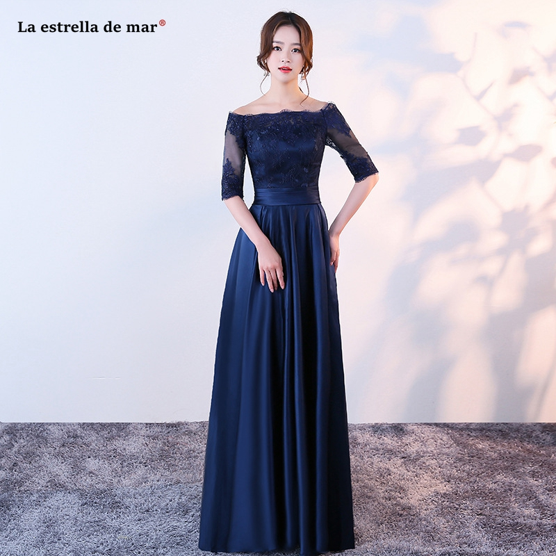 Robe demoiselle d'honneur2019 new lace satin Boat Neck Half sleeve A Line navy blue   bridesmaid     dress   long vestido madrinha