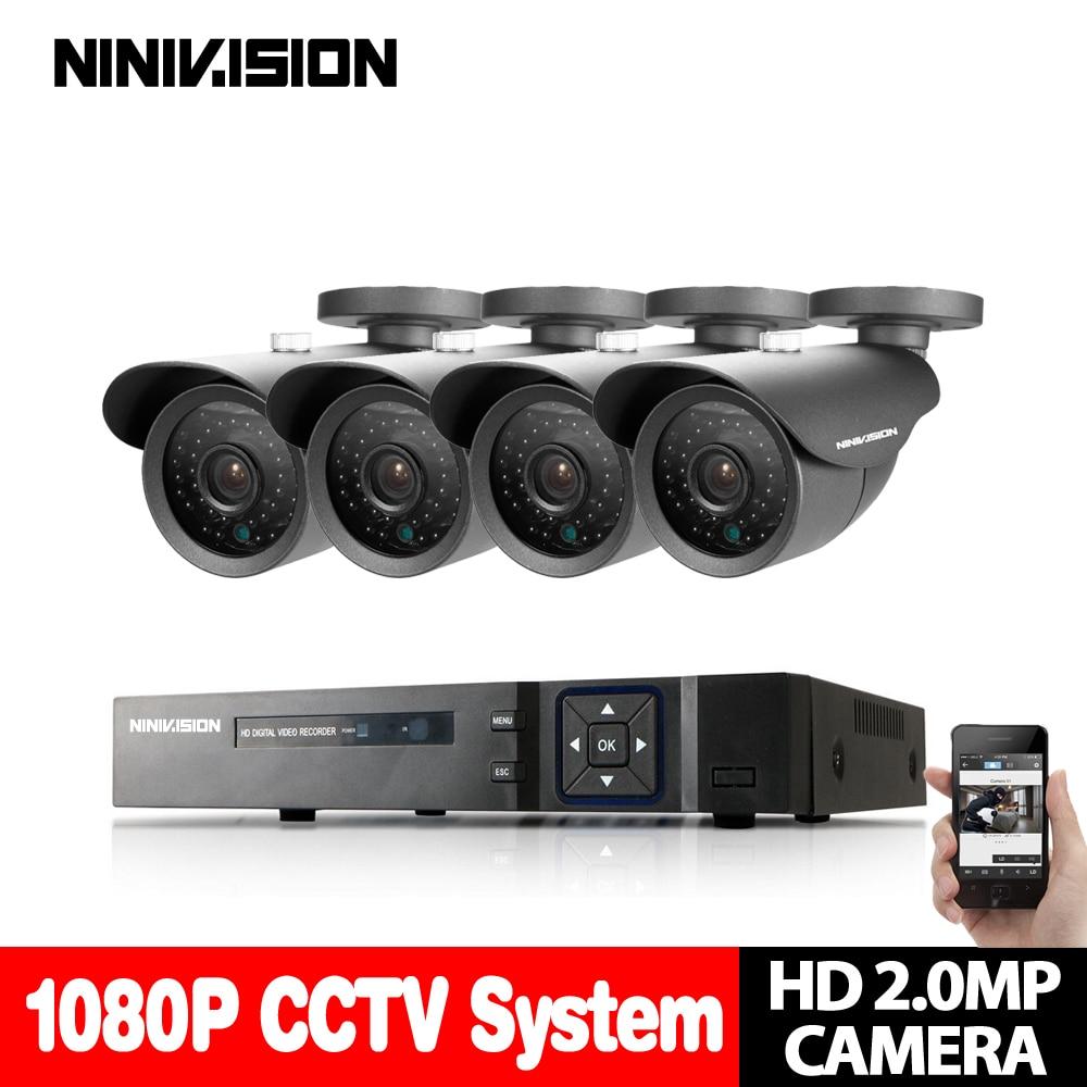 NINIVISION 8CH CCTV System 8CH AHD CCTV DVR 2TB HDD 4PCS 2.0 MP Security Camera 36PCS IR Leds CCTV Camera Surveillance System zosi 8ch 720p cctv system 8ch ahd cctv dvr 1tb hdd 8pcs 1 0 mp security camera 42pcs ir leds cctv camera surveillance system