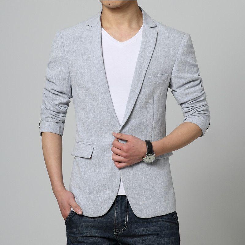 Aliexpress.com : Buy Men Pink Linen Formal Blazers Men Long sleeve ...