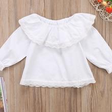 Белый для новорожденных и маленьких девочек, кружевные платья с открытыми плечами с длинными рукавами блузы, топы, рубашки для девочек одежда От 0 до 2 лет