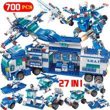 Estación de Policía de la ciudad coche Robot de policía bloques de construcción juguetes educativos para niños Compatible con SWAT militar