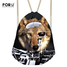 FORUDESIGNS Men Drawstring Bag Cool Wolf Tiger Printing Rucksack Travel Storage Bags Teenagers School Backpacks Mochilas Escola(China)