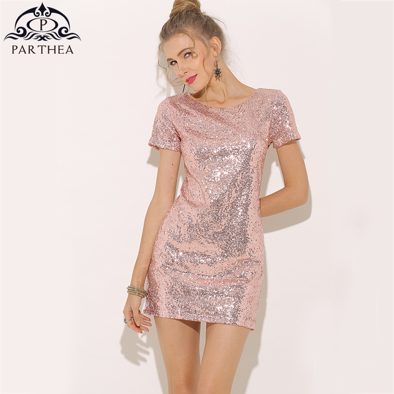 ec75e791f0 Parthea Short Sleeve Sexy Sequin Dress Pink Summer Dress Gold Metallic  Women Party Dress Black Dresses