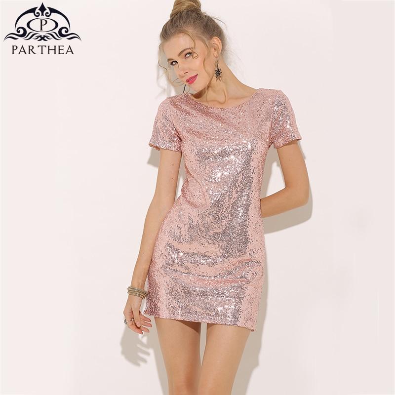 Parthea Kurzarm Sexy Pailletten Rosa Sommer Kleid Gold Metallic ...