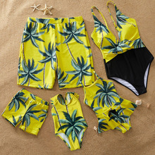 2020 Family Look Mother Daughter Bikini Swimsuits Father Son Swimwear Shorts Beach Leaf Outfits Mommy Dad &Me Matching Clothes leopard swimsuits family matching swimwear mother daughter bikini dad son swim trunks mommy and me family outfits look e0200