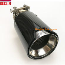 Car Styling M Label  Car Akrapovic Carbon Fiber  Muffler Tips Pipes with inside Mesh For BMW Carbon Exhaust Tip muffler tip