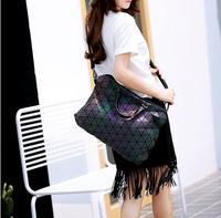 Promotion Luminous Bag 2017 Fashion Women S Geometric Lattic Diamond Plaid Handbags Shoulder Bag Hologram Laser