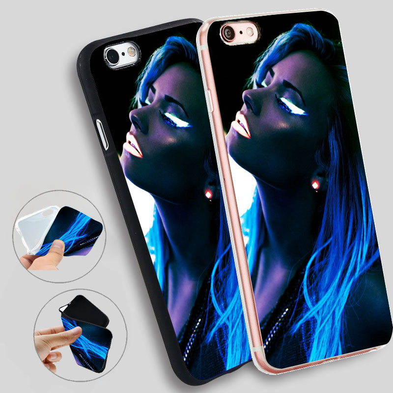 Minason Demi Lovato Blue Shiny Light Soft Silicone Case for iPhone X 5 S 5S 6 6S 7 8 Plus Cover Phone Fundas Capinha de Celular