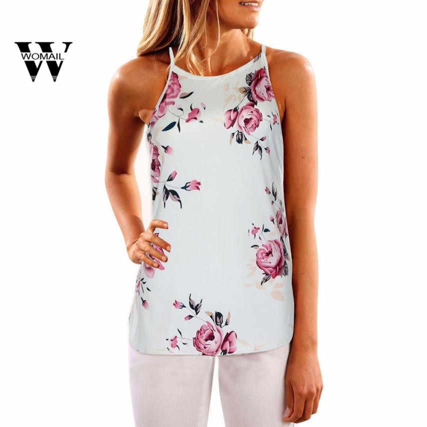 2018 新ファッション女性夏ベストシャツピンクの花ブラウスカジュアルタンクトップス Tシャツ Mar 27