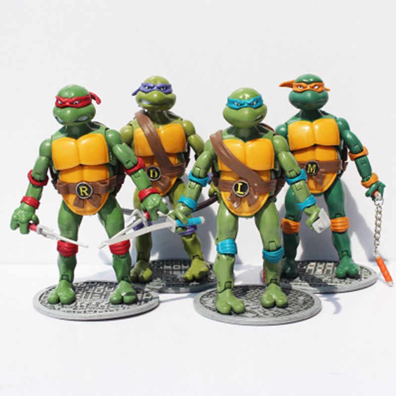 NOVO Frete grátis 4 pçs/lote Modelo brinquedos Figuras de Ação & Toy modelo Tartarugas Animação artigos de decoração