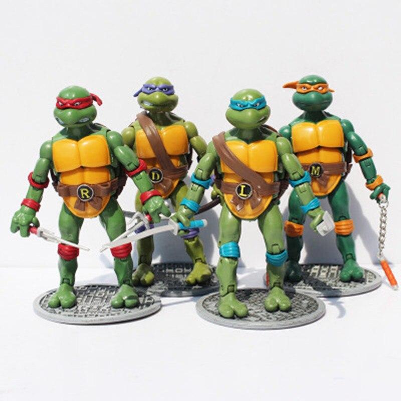 Nuevos envío gratis 4 unids/lote modelos juguetes acción y figuras de juguete tortuga modelo animación artículos de mobiliario