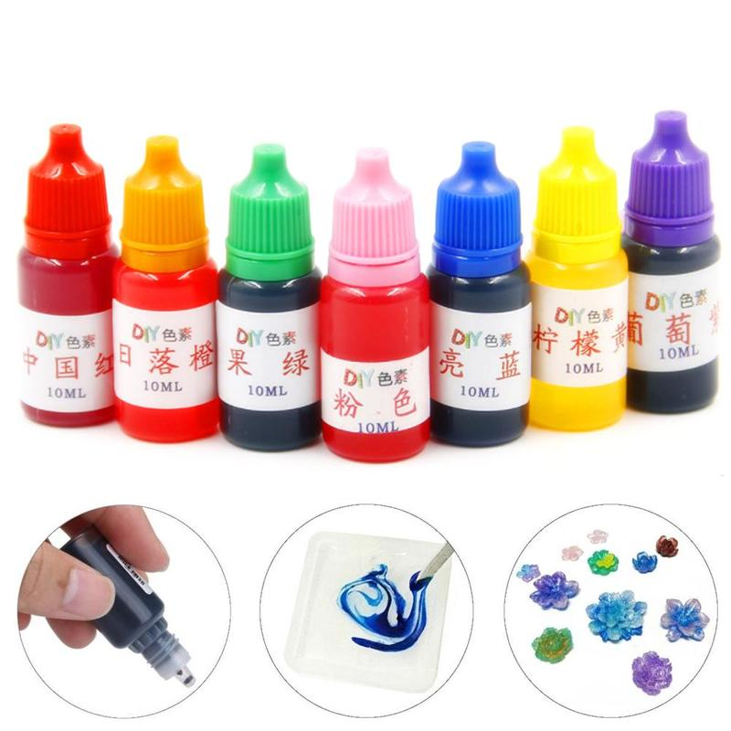 7 Colors Dye Colorant Set Slime Jewelry Making Skin Safe Liquid Resin Pigments Slime Jewelry DYE Colorant Liquid Pigment 10ml