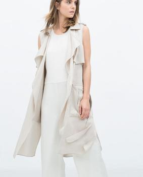 ZR Original 2015 Summer Trf New Fashion Women Long Waistcoat Trench Lapel collar Sleeveless vest Belted big pockets zara dress with mesh trim