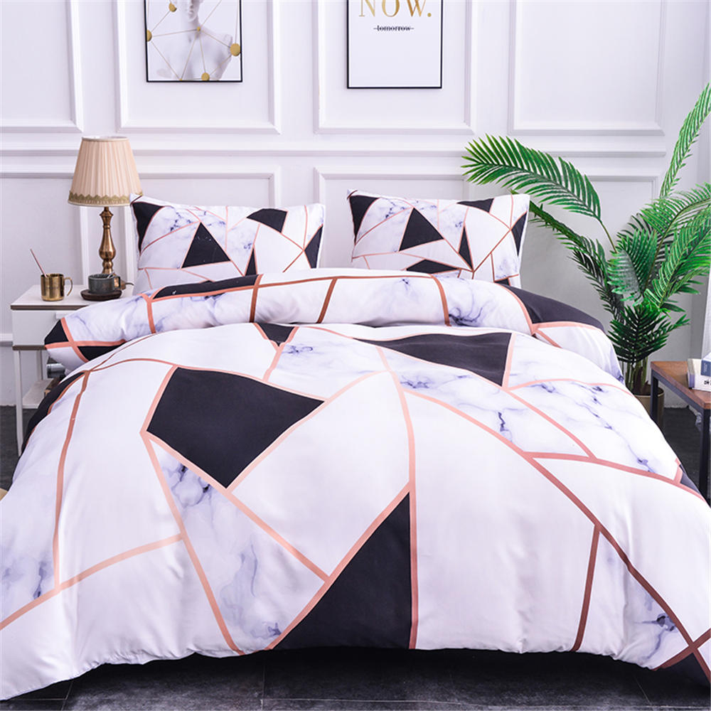 Pillowcases-Cover-Set Textiles Geometric-Bedding-Sets Marble-Texture Microfiber 3d-Printing