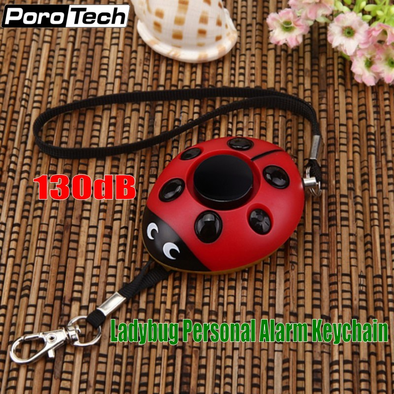 Wholesale 50pcs/lot Beetle Alarm Ladybug LED Flashlight keychain alarm for kids students Personal Security Self Defense Alarm personal guard safety security siren alarm with led flashlight white 2 cr2032