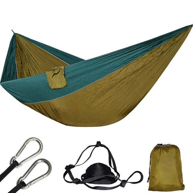 Hafif süper büyük paraşüt hamak 210T naylon kumaş asılı Hamac açık kamp Survival için plaj Yard 320*200cm