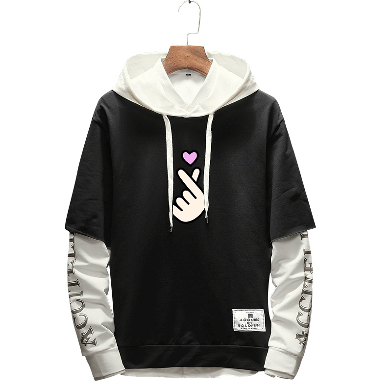 2019 Korean Harajuku Fashion Hooded Hoodies Women Fake Two Pieces Heart Finger Pattern Long Sleeve Kawaii Pullover Streetwear High Quality And Low Overhead