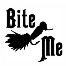 10.5*9.8CM Bite Me Fishing Jig Car Sticker Decal Funny Text Motorcycle Decorative Stickers Car Styling
