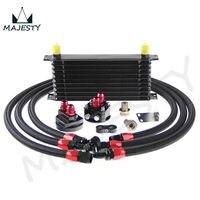 10 صف AN10 العالمي محرك مبرد زيت ناقل الحركة + FILTER RELOCATION KIT أسود
