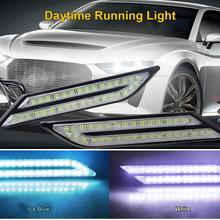 2x car DRL LED Daytime Running Lights White Turn Signal Warning Light Blade Daytime Running Lights Car Universal Headlights недорого
