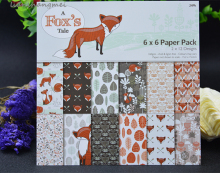 "24pcs 6"" Single-side Fox pattern creative papercraft art paper handmade scrapbooking kit set books(China)"