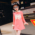 Children's Clothing Korean Fall and Winter New Girls Add Fur Thickening Render Unlined Upper Garment Lace Long T-shirts 2 Colour