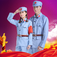Adults Men Ancient Chinese Eight Route Army uniform performances Children Red Army costume red guards women's solider uniform.