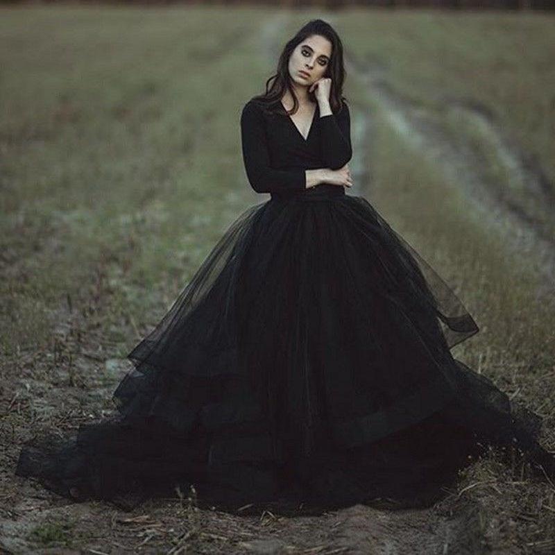 2019 Wedding Ball Gowns: Black Long Sleeve Wedding Dress 2019 V Neck Bridal Gowns