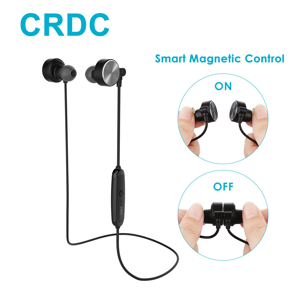 Smart Magnetic Bluetooth Earphone CRDC Slim Wireless Headphones IPX6 Sweatproof Sport Headset with Mic For Xiaomi